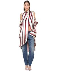 Monse - Striped Satin Caftan Top - Lyst