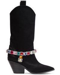Casadei - 60mm Rodeo Crystals Satin Cowboy Boots - Lyst