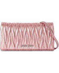 Miu Miu - Quilted Metallic Leather Shoulder Bag - Lyst