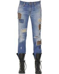 Ermanno Scervino - Cotton Denim Jeans W/wool & Lace Patches - Lyst