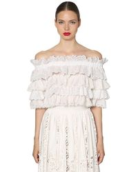 Dolce & Gabbana Ruffled Poplin & Lace Crop Top - White