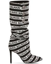 Balmain Black And White Jane 95 Knee High Boots