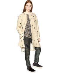N°21 - Brush Stroke Print Wool Ottoman Coat - Lyst