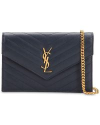 Saint Laurent - Small Quilted Monogram Leather Bag - Lyst