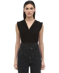 Y. Project - Sleeveless Cotton Jersey Polo Bodysuit - Lyst