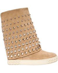 Casadei - 100mm Studded Suede Wedge Boots - Lyst