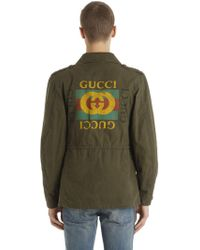 Gucci - Logo Printed Washed Cotton Field Jacket - Lyst