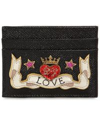 Dolce & Gabbana - Dauphine Calfskin Credit Card Holder With Embroidery Patch - Lyst