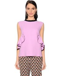 Marni - Top In Crepe Con Ruches - Lyst