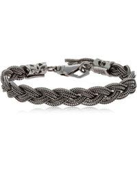 Emanuele Bicocchi - Black Braided Silver Chain Bracelet - Lyst