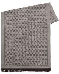 Gucci - Gg Supreme Fringed Wool Scarf - Lyst