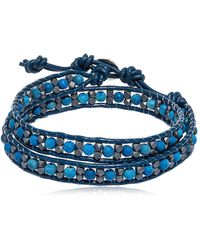 Colana - Hematite & Lava Beads Wrap Bracelet - Lyst