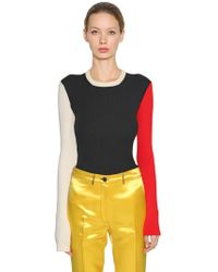 CALVIN KLEIN 205W39NYC - Color Block Cotton Blend Knit Sweater - Lyst
