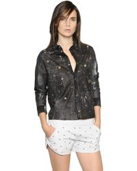DROMe | Cropped Studs & Eyelets Leather Shirt | Lyst