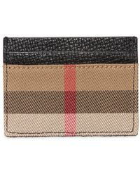 Burberry - Check Canvas & Leather Card Holder - Lyst
