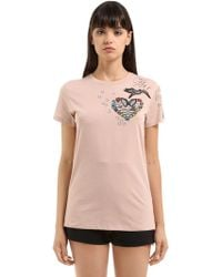 Valentino - Heart Embellished Cotton Jersey T-shirt - Lyst