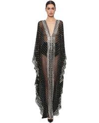 Azzaro - Embroidered Silk Chiffon Caftan Gown - Lyst