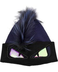 79d33127796 Fendi - Monster Knit   Fur Beanie Hat - Lyst
