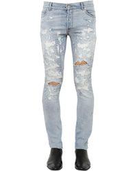 Balmain - Jeans Skinny In Denim Destroyed 17cm - Lyst
