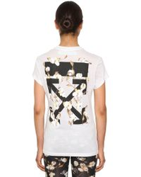 Off-White c/o Virgil Abloh - Logo Print Fitted Cotton Jersey T-shirt - Lyst