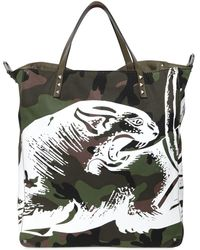 Valentino - Panther Print Camo Canvas Tote Bag - Lyst