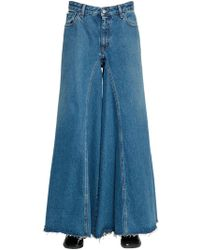 MM6 by Maison Martin Margiela | Wide Leg Cotton Denim Jeans | Lyst