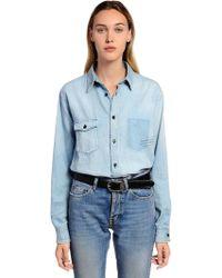 Saint Laurent - Logo Detail Washed Cotton Denim Shirt - Lyst