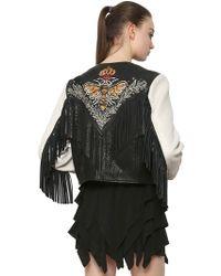 Étoile Isabel Marant - Embroidered Leather Jacket With Fringe - Lyst