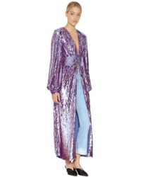 Attico - Sequined Coat With Puff Sleeves - Lyst