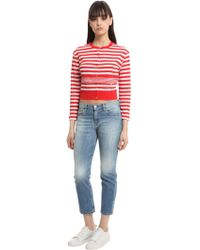 Sonia Rykiel - Striped Cotton Knit Cropped Cardigan - Lyst