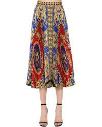 Versace - Plisse Printed Twill Midi Skirt - Lyst