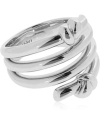 Eshvi - Venus White Rhodium Plated Ring - Lyst