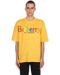 Burberry - T-shirt Aus French Terry Mit Logo - Lyst