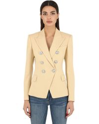 Balmain - Double Breasted Wool Blazer - Lyst