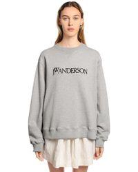 JW Anderson - Logo Embroidered Cotton Sweatshirt - Lyst