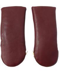 Aristide - Leather Zipped Mittens W/rabbit Fur - Lyst