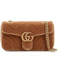 72dc4478a09 Gucci - Small Gg Marmont 2.0 Velvet Shoulder Bag - Lyst