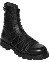 DIESEL - Lace-up Leather Combat Boots - Lyst