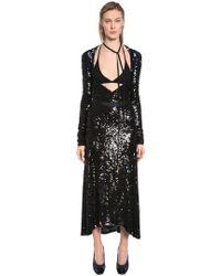 Nina Ricci - Deep Neckline Stretch Sequined Dress - Lyst