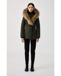 Mackage Adali Down Coat With Signature Natural Fur Collar In Army - Women - Multicolor