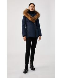 Mackage Adali Down Coat With Signature Natural Fur Collar In Navy - Women - Blue