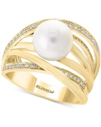 Effy Collection - Pearl By Effy® Cultured Freshwater Pearl (9mm) & Diamond (1/6 Ct. T.w.) Ring - Lyst