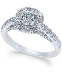 Macy's - Diamond Halo Engagement Ring (1-1/4 Ct. T.w.) In 14k White Gold - Lyst