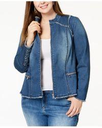 cb8f58a5af195 INC International Concepts - I.n.c. Plus Size Lace-up Denim Jacket