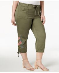 Style & Co. - Plus Size Embroidered Cropped Cargo Pants, Created For Macy's - Lyst