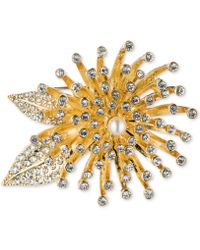 Anne Klein - Gold-tone Crystal Flower Burst Pin - Lyst
