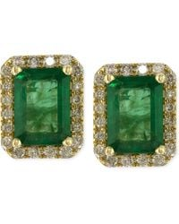 Effy Collection - Emerald (1-9/10 Ct. T.w.) And Diamond (1/4 Ct. T.w.) Stud Earrings In 14k Gold - Lyst