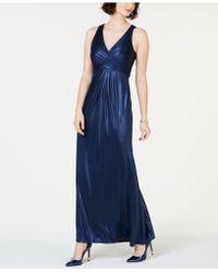 Adrianna Papell - Metallic Mermaid Gown - Lyst