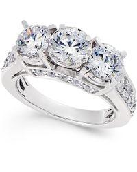 Macy's - Diamond 3-stone Ring (3 Ct. T.w.) In 14k White Gold - Lyst