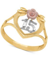 """Macy's - Tricolor Quinceañera """"15"""" Rose Openwork Ring In 14k Gold, Rose Gold & Rhodium Plate - Lyst"""
